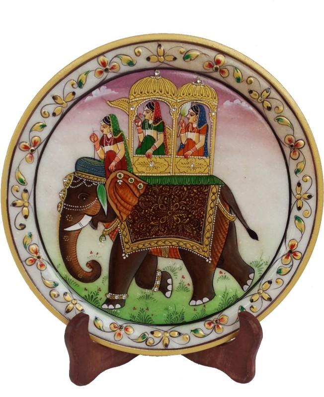 DivineCrafts Decorative Makrana Marble Plate With Stand Stoneware Decorative Platter(White, Multicolor)