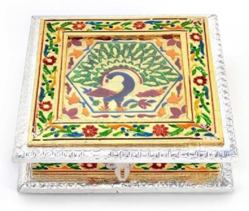 HanumantCreations Handicraft Dry Fruit Box With Meenakari Art Work Cast Iron, Silver Plated Decorative Platter(Multicolor, Silver)