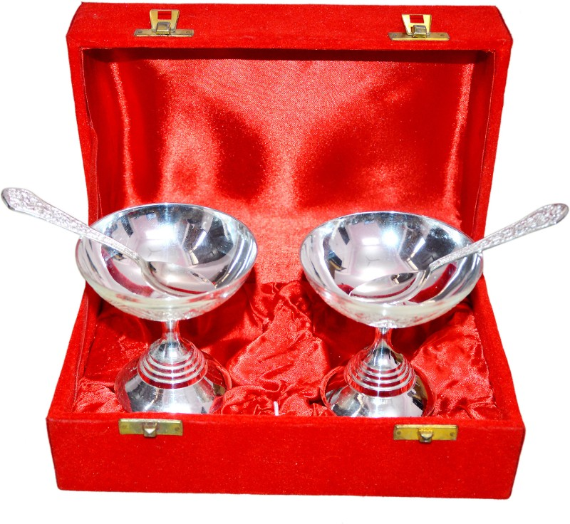 Marusthali Ice Cream Box Packing Brass Decorative Platter(Silver, Pack of 4)