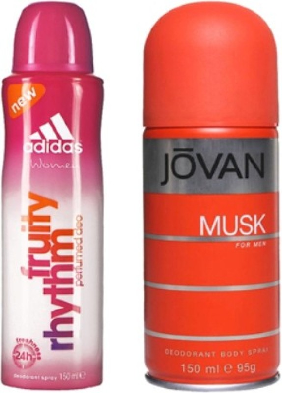 Adidas Fruity Rhythm and Musk Men Body Spray - For Men & Women(300 ml, Pack of 2)