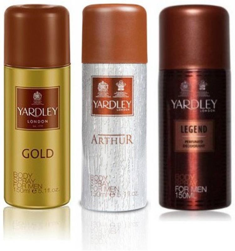 Yardley London Gold & Arthur & Legend Deodorant Spray  -  For Men(450 ml, Pack of 3)