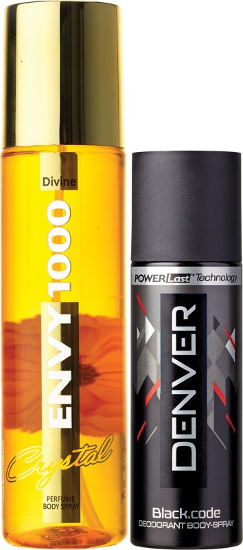 Envy 1000 Divine Crystal Deo 135 Ml & Black Code Nano 50 ml Deodorant Spray - For Women(135 ml, Pack of 2)