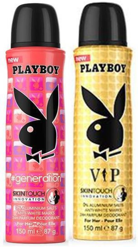 Playboy Generation and VIP Deodorant Spray - For Women(300 ml, Pack of 2)