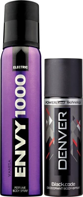 Envy 1000 Electric Deo 130 Ml & Black Code Nano 50 ml Deodorant Spray - For Men(130 ml, Pack of 2)