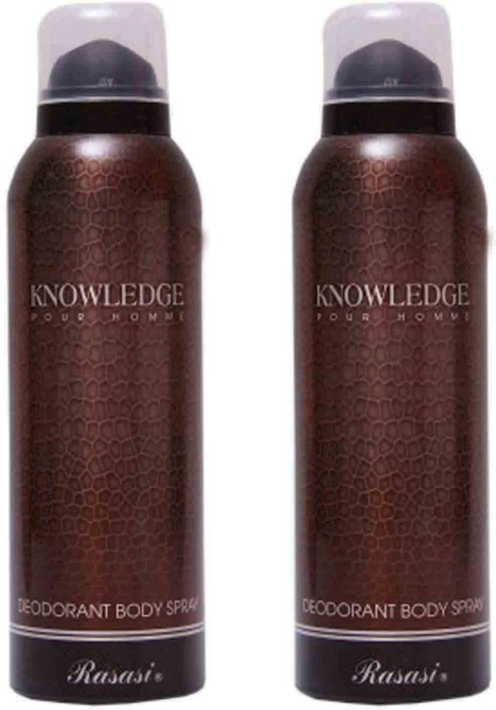Rasasi Knowledge Spray Pour Homme Deo Set 2-Hb Body Mist  -  For Men(200 ml, Pack of 2)