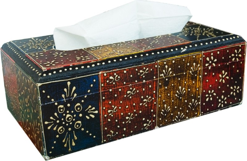 Shreeng 1 Compartments Wooden Tissue Paper Holder(Multicolor)