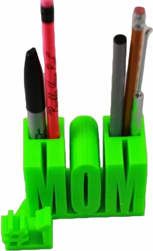 3idea 2 Compartments Plastic MOM Design Desk Organizer(Green)