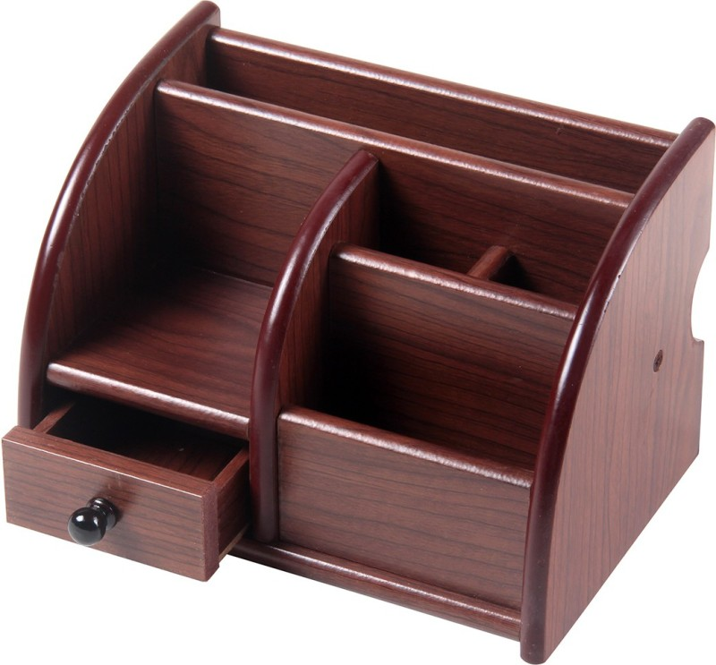Fab Handicraft 6 Compartments WOODEN PEN AND MOBILE HOLDER(Brown)