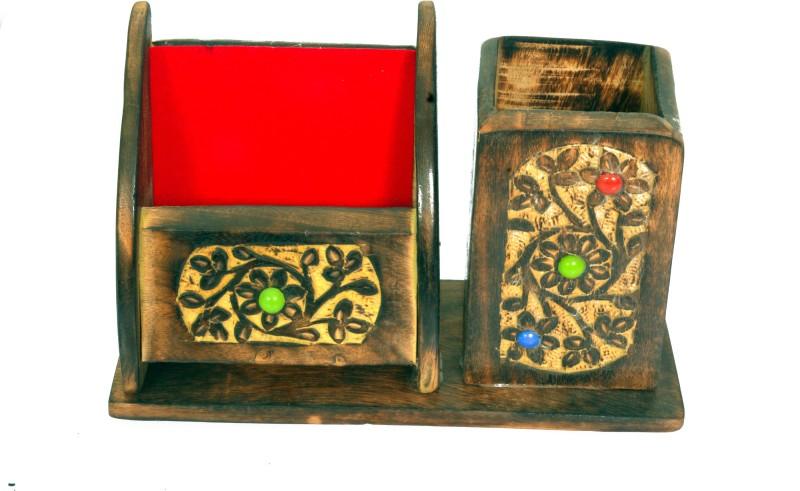 Craft Trade 2 Compartments Wood Desktop Case(Multicolor)