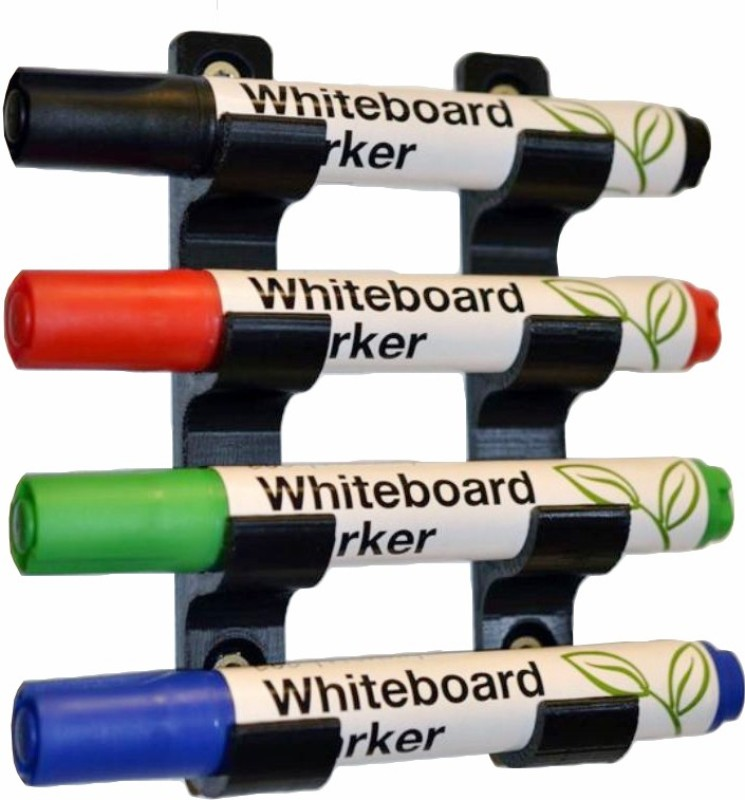 3idea 4 Compartments Plastic Whiteboard Marker Stand 3D Printed(Black)