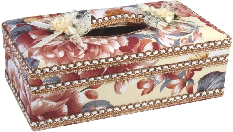 7Trees 1 Compartments Hi Quality Plastic With Floral Cloth Covered Tissue Holder Box(Maroon)