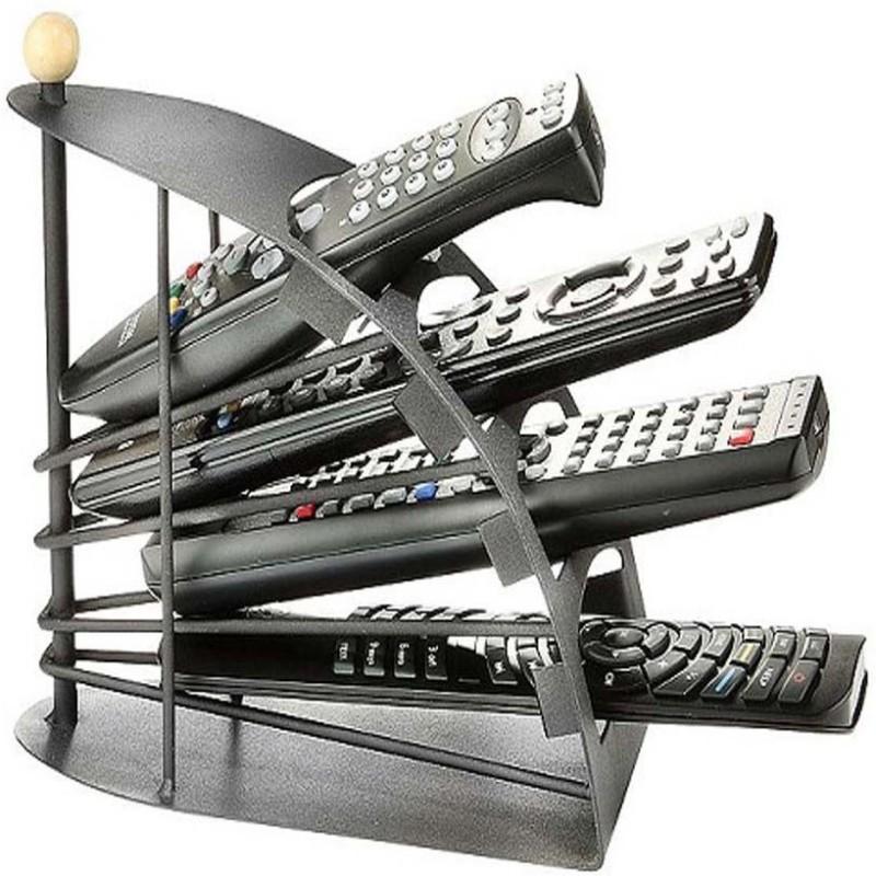 Evana Multi-Shelf Organiser Rack 4 Compartments Steel Remote Holder(Black)