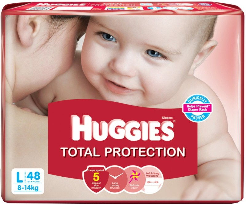 Huggies Total Protection Baby Diapers - L(48 Pieces)