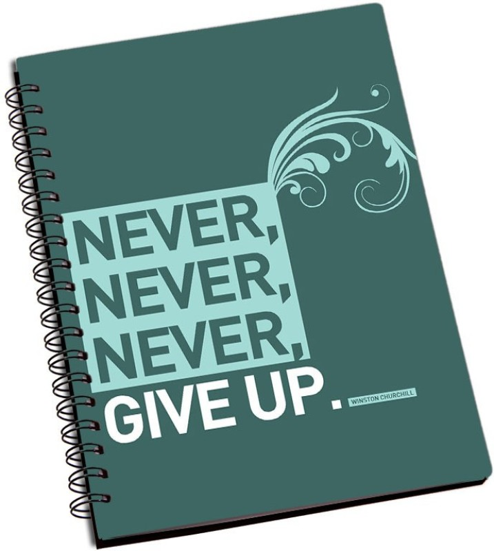 Rangeele Inkers Never Never Give Up A5 Notebook 200 Pages(Multicolor)