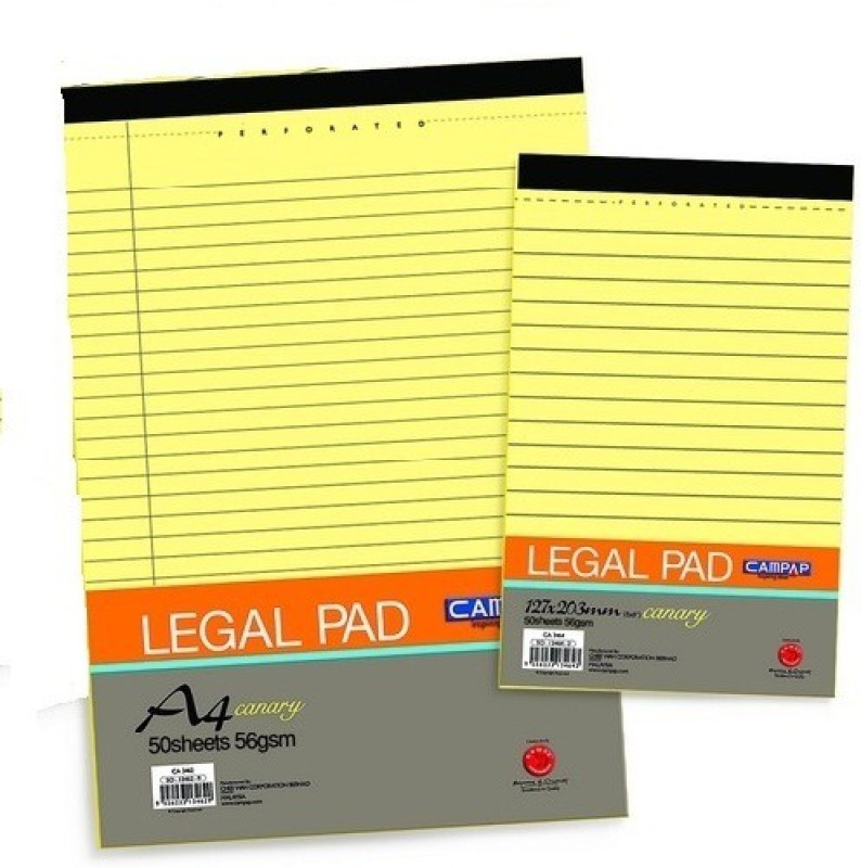 Campap Legal A4 Note Pad 50 Pages(Canary yellow, Pack of 5)