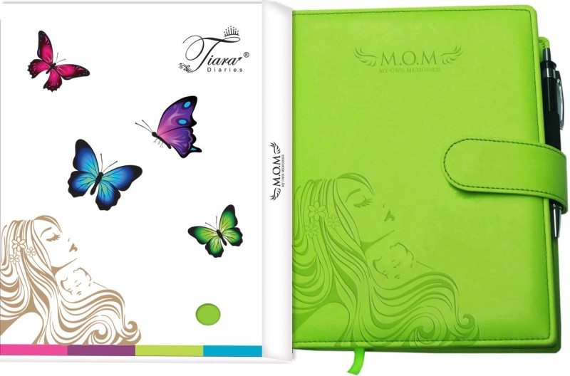 Tiara Diaries Pregnancy Journal cum planner & record book A5 Journal 140 Pages(Lime Green)