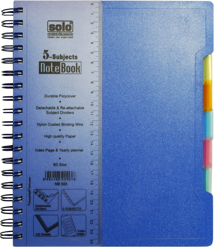 Solo Management 5 Subjects (Set of 2) B5 Notebook 300 Pages(Blue)