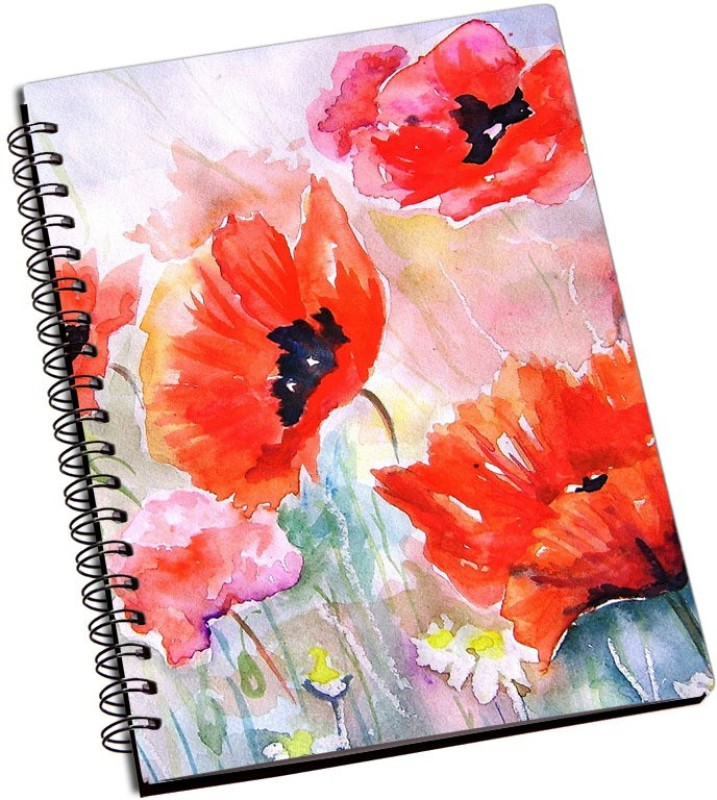 Rangeele Inkers Flowers Painting Artwork A5 Notebook 200 Pages(Multicolor)