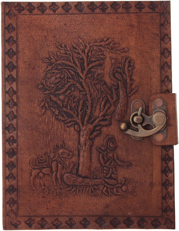Craft Play Tree Emboss Leather With Lock Regular Notebook 100 Pages(Tan)