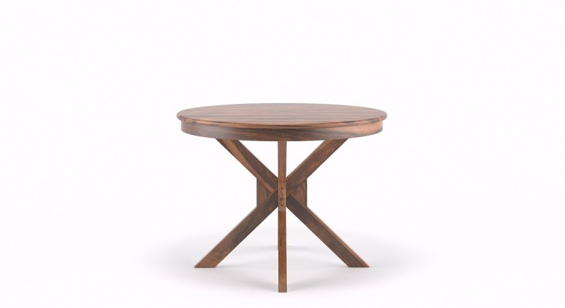 Urban Ladder Liana Round Solid Wood 4 Seater Dining Table(Finish Color - Teak)