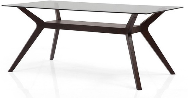 Urban Ladder Wesley Glass Top Solid Wood 6 Seater Dining Table(Finish Color - Dark Walnut)