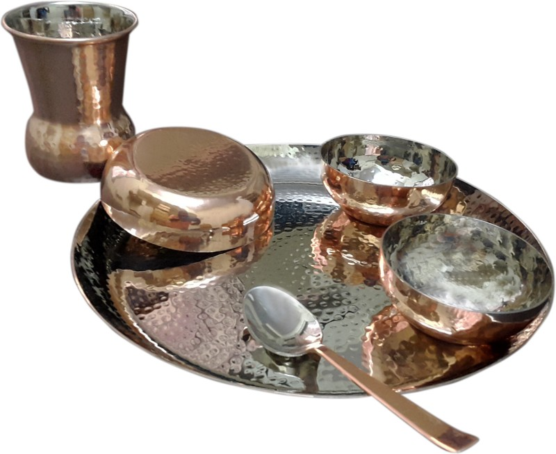 Dynore 6 pcs Hammered dinner set with bottom copper plating Pack of 6 Dinner Set(Copper)