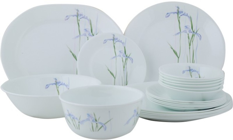 CORELLE Asia Collection Shadow Iris Pack of 21 Dinner Set(Glass)