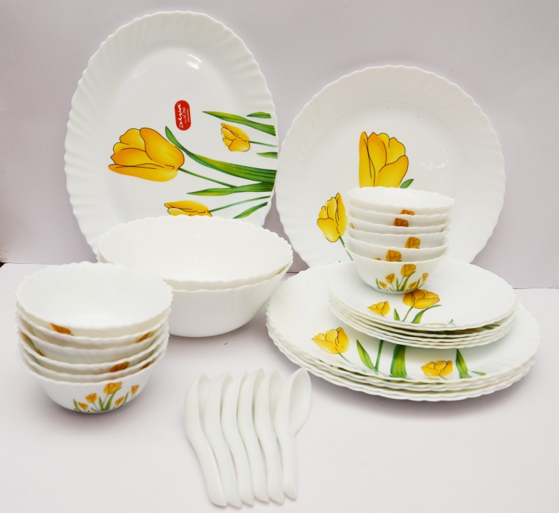 Laopala Tulip Passion Pack of 33 Dinner Set(Opalware)