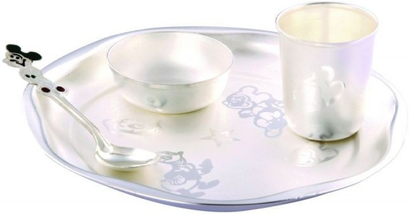 GoldGiftIdeas Baby Special Pack of 4 Dinner Set(Silver Plated)