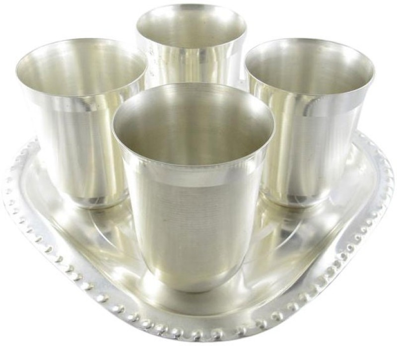 GoldGiftIdeas Juli Mat Water Glass Tray Pack of 5 Dinner Set(Silver Plated)