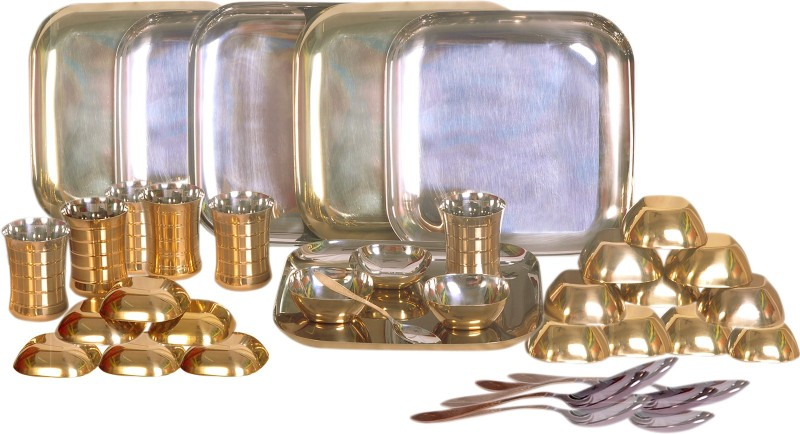 Dynore Bottom Brass Plating Pack of 36 Dinner Set(Stainless Steel)