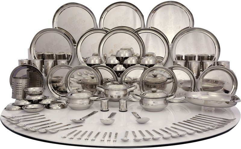 Shri & Sam Pack of 101 Dinner Set(Stainless Steel)