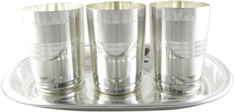 GoldGiftIdeas Amrapali Water Glass Pack of 4 Dinner Set(Silver Plated)