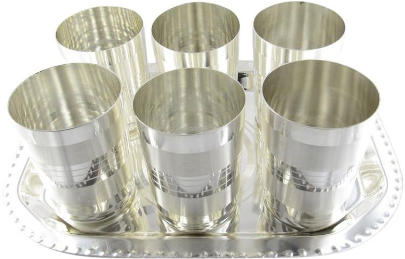 GoldGiftIdeas Amrapali Water Glass Tray Pack of 7 Dinner Set(Silver Plated)