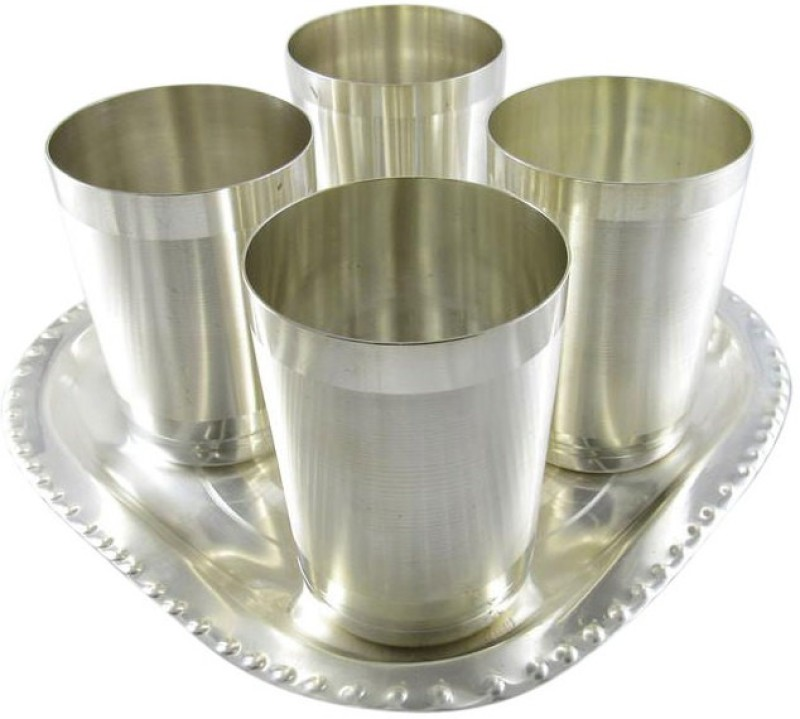 GoldGiftIdeas Amrapali Matt Water Glass Tray Pack of 5 Dinner Set(Silver Plated)