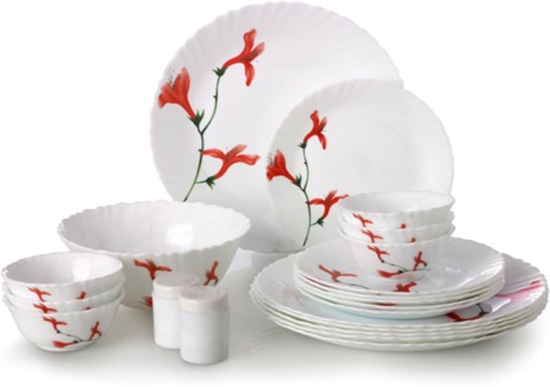 Laopala divine petal Pack of 20 Dinner Set(Opalware)