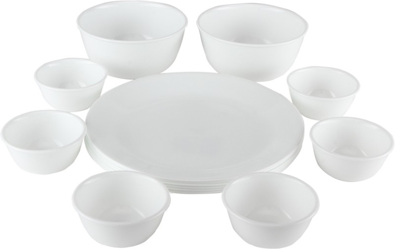CORELLE Winter Frost white Pack of 14 Dinner Set(Glass)