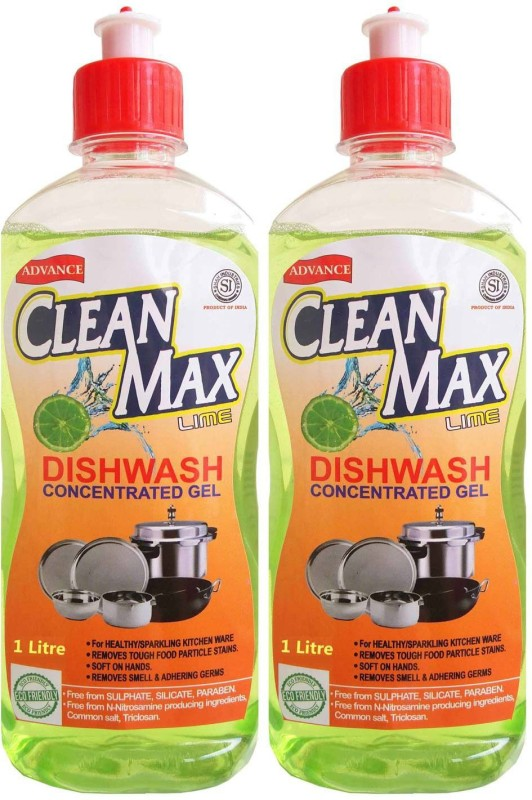 Cleanmax 1L (Pack of 2) CONCENTRATED Dish Cleaning Gel(LIME, 2 x  500 ml)