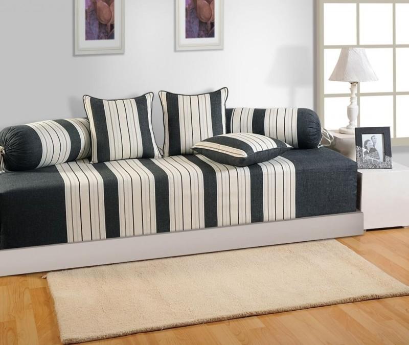 Swayam Cotton Striped Diwan Set(1 Diwan Sheet+ 3 Cushion Cover+2 Bolster Cover (Set of 6))