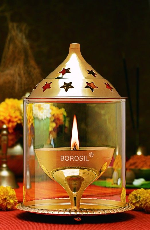 Borosil Akhand Brass Table Diya(Height: 7 inch)
