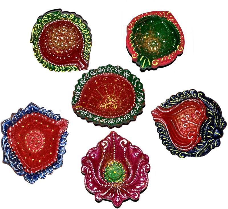 DakshCraft Colorful Diwali Diya Hand Printed Terracotta Table Diya Set(Height: 1 inch, Pack of 6)