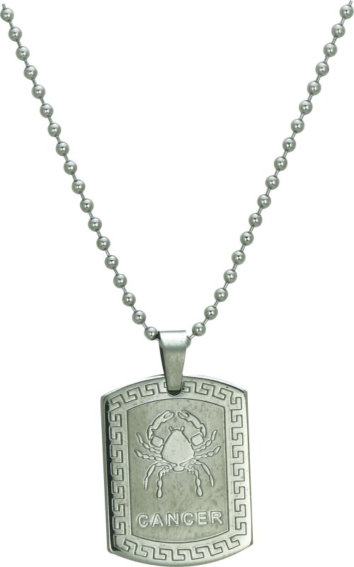 Pure Life Cancer Zodiac Pendant Embossed Silver Dog Tag