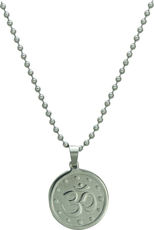 Pure Life Om Pendant Silver(Dot) Embossed Silver Dog Tag