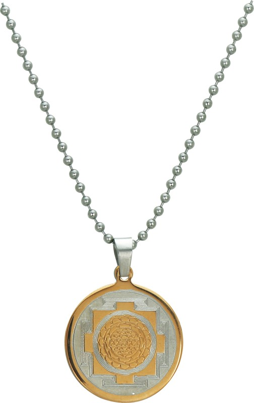Pure Life Yantra Pendant Embossed Gold Dog Tag