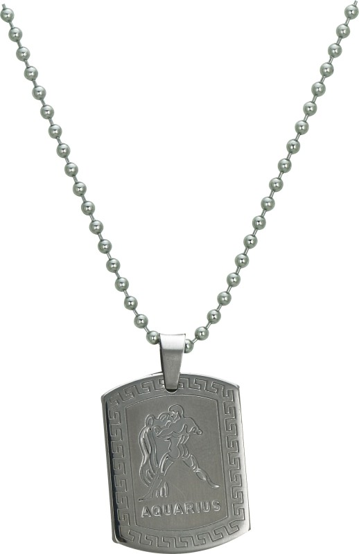 Pure Life Zodiac Aquarius Pendant Embossed Silver Dog Tag