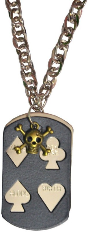 Men Style Skull inspired With Card Debossed Black Dog Tag