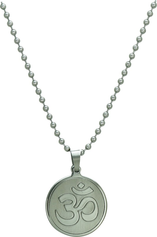 Pure Life 1 Om Pendant Silver Embossed Silver Dog Tag