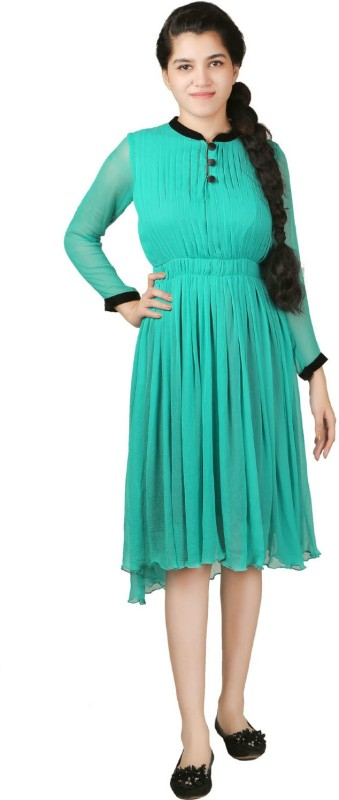 VR Designers Women Fit and Flare Green Dress