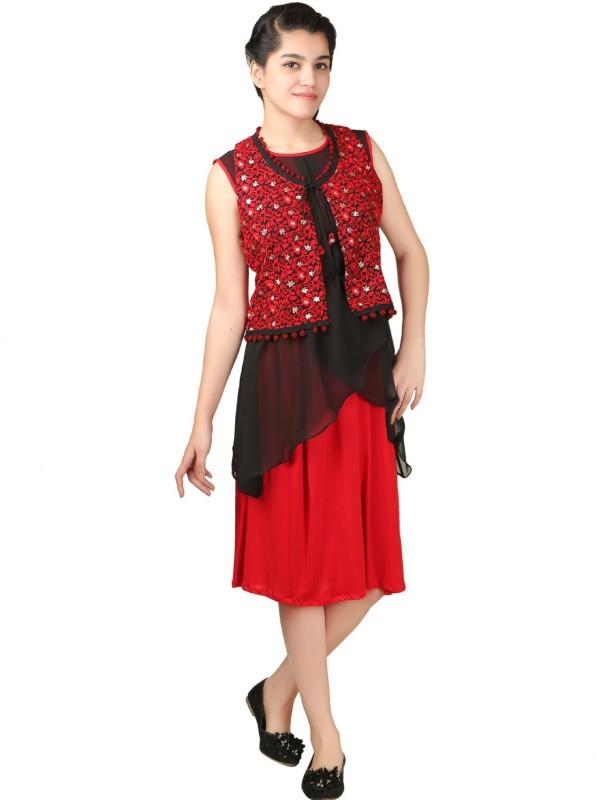 VR Designers Women Layered Red, Black Dress