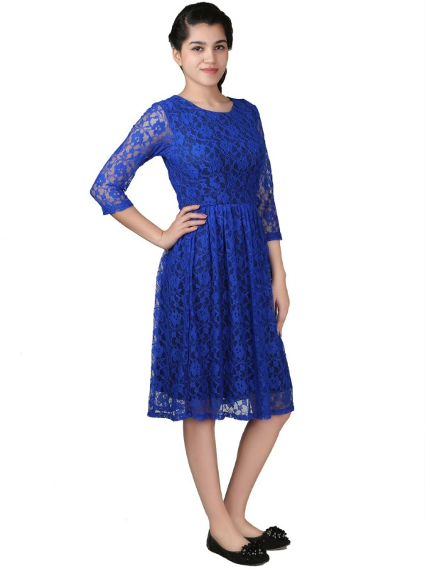 VR Designers Women Fit and Flare Blue Dress